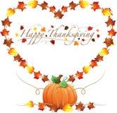 Ευτυχή καρδιά ημέρας των ευχαριστιών και σύνορα κολοκυθών διανυσματική απεικόνιση