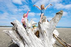 ευτυχή κατσίκια παραλιών Στοκ εικόνα με δικαίωμα ελεύθερης χρήσης