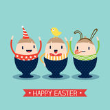 Ευτυχή κινούμενα σχέδια αυγών Πάσχας Στοκ Εικόνα