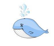 Ευτυχή κινούμενα σχέδια γαλάζιων φαλαινών Στοκ εικόνες με δικαίωμα ελεύθερης χρήσης
