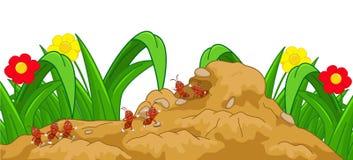 Ευτυχή κινούμενα σχέδια μυρμηγκιών στη φωλιά απεικόνιση αποθεμάτων
