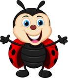Ευτυχή κινούμενα σχέδια ladybug Στοκ εικόνα με δικαίωμα ελεύθερης χρήσης