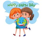 Ευτυχή κορίτσια γήινης ημέρας που κρατούν τη γη διανυσματική απεικόνιση