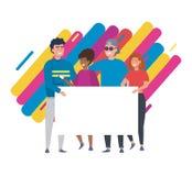 Ευτυχή κορίτσια και αγόρια με τις πληροφορίες αχθοφόρων ελεύθερη απεικόνιση δικαιώματος