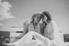 Ευτυχή κορίτσια με τα γυαλιά σαμπάνιας υπαίθρια Στοκ Εικόνες