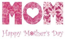 Ευτυχή λουλούδια αλφάβητου Mom ημέρας μητέρων Στοκ Εικόνες