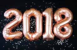 Ευτυχή μπαλόνια έτους του 2018 χρυσά νέα Στοκ Εικόνα