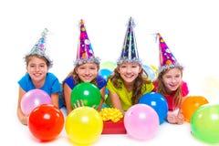 Ευτυχή μπαλόνια και δώρο γιορτών γενεθλίων κοριτσιών παιδιών Στοκ Φωτογραφίες