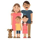 Ευτυχή οικογένεια και σκυλί Στοκ εικόνα με δικαίωμα ελεύθερης χρήσης