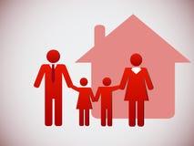 Ευτυχή οικογένεια και σπίτι Στοκ Εικόνα