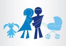 Ευτυχή οικογενειακά εικονίδια Στοκ Εικόνες