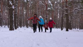 Ευτυχή οικογενειακά τρεξίματα μέσω του χιονώδους πάρκου και του γέλιου πεύκων Τα παιδιά παίζουν με τους γονείς τους στο χειμερινά απόθεμα βίντεο