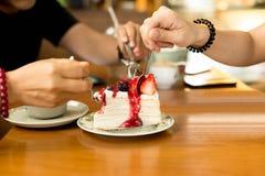 Ευτυχή οικογενειακά χέρια στο κέικ υφάσματος κρεπ Στοκ φωτογραφία με δικαίωμα ελεύθερης χρήσης