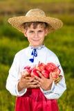 Ευτυχή οργανικά μήλα λαβής αγοριών αγροτών στον κήπο φθινοπώρου Στοκ Εικόνες