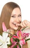 Ευτυχή λουλούδια δάχτυλων δαγκώματος γυναικών xxl στοκ φωτογραφίες με δικαίωμα ελεύθερης χρήσης