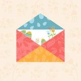 Ευτυχή λουλούδια και αυγά φακέλων Πάσχας έννοιας διάνυσμα διανυσματική απεικόνιση