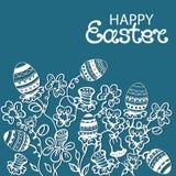 Ευτυχή λουλούδια καρτών Πάσχας και πασχαλινά αυγά Ελεύθερη απεικόνιση δικαιώματος