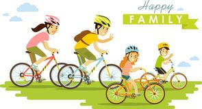Ευτυχή οδηγώντας ποδήλατα που απομονώνονται οικογενειακά στο λευκό Στοκ Εικόνες