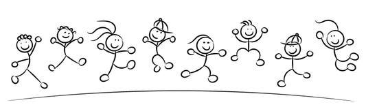 Ευτυχή παιδιά ή παιδιά που πηδούν το σκίτσο που απομονώνεται διανυσματική απεικόνιση