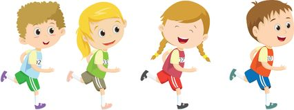 ευτυχή παιδιά που τρέχουν το μαραθώνιο από κοινού Στοκ εικόνες με δικαίωμα ελεύθερης χρήσης