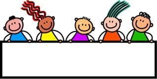 Ευτυχή παιδιά εμβλημάτων διανυσματική απεικόνιση