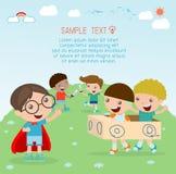 Ευτυχή παιδιά κινούμενων σχεδίων, παιδιά που παίζουν, παιχνίδι παιδιών και τρόπος ζωής, ευτυχές παιδί, διανυσματική απεικόνιση, π Στοκ Εικόνες