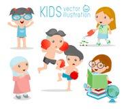 Ευτυχή παιδιά κινούμενων σχεδίων, παιδιά που παίζουν στο άσπρο υπόβαθρο, παιχνίδι παιδιών και τρόπος ζωής Στοκ Εικόνα