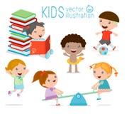 Ευτυχή παιδιά κινούμενων σχεδίων που παίζουν, Στοκ εικόνες με δικαίωμα ελεύθερης χρήσης