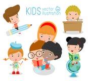 Ευτυχή παιδιά κινούμενων σχεδίων στην τάξη, έννοια εκπαίδευσης, πίσω στο σχολείο Στοκ Εικόνες