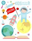 Ευτυχή παιδιά κινούμενων σχεδίων στο διάστημα με την εκπαίδευση πυραύλων, spaceman, έννοια εκπαίδευσης Στοκ εικόνα με δικαίωμα ελεύθερης χρήσης