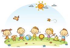 Ευτυχή παιδιά κινούμενων σχεδίων υπαίθρια σε ένα πράσινο λιβάδι διανυσματική απεικόνιση