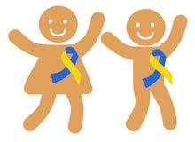 Ευτυχή παιδιά με τις κορδέλλες που συμβολίζουν κάτω από το σύνδρομο απεικόνιση αποθεμάτων