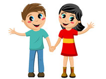 Ευτυχή παιδιά παιδιών που απομονώνονται χέρι-χέρι ελεύθερη απεικόνιση δικαιώματος