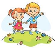 Ευτυχή παιδιά που περπατούν υπαίθρια ελεύθερη απεικόνιση δικαιώματος