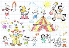 Ευτυχή παιδιά στο τσίρκο Στοκ Εικόνες