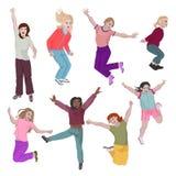 Ευτυχή πηδώντας κορίτσια Ser OH στοκ φωτογραφίες