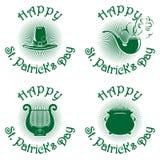 Ευτυχή πράσινα εικονίδια ημέρας του ST Patricks καθορισμένα Στοκ Φωτογραφίες