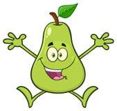 Ευτυχή πράσινα φρούτα αχλαδιών με το χαρακτήρα μασκότ κινούμενων σχεδίων φύλλων με το ανοικτό άλμα όπλων ελεύθερη απεικόνιση δικαιώματος