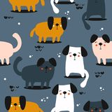 Ευτυχή σκυλιά, άνευ ραφής σχέδιο απεικόνιση αποθεμάτων