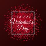 Ευτυχή στοιχεία σχεδίου ευχετήριων καρτών ημέρας βαλεντίνων Κομφετί από τις κόκκινες καρδιές εγγράφου Κείμενο χαιρετισμού στο άσπ ελεύθερη απεικόνιση δικαιώματος