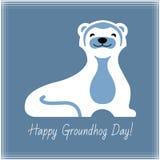 Ευτυχή τυπογραφία και σχέδιο ημέρας Groundhog με το χαριτωμένο χαρακτήρα groundhog στοκ φωτογραφία με δικαίωμα ελεύθερης χρήσης
