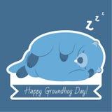 Ευτυχή τυπογραφία και σχέδιο ημέρας Groundhog με το χαριτωμένο χαρακτήρα groundhog στοκ φωτογραφίες με δικαίωμα ελεύθερης χρήσης