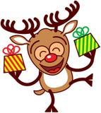 Ευτυχή φέρνοντας δώρα ταράνδων Χριστουγέννων Στοκ εικόνες με δικαίωμα ελεύθερης χρήσης