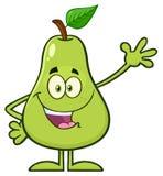 Ευτυχή φρούτα αχλαδιών με τον πράσινο χαρακτήρα μασκότ κινούμενων σχεδίων φύλλων που κυματίζει για το χαιρετισμό απεικόνιση αποθεμάτων