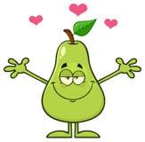 Ευτυχή φρούτα αχλαδιών με τον πράσινο χαρακτήρα μασκότ κινούμενων σχεδίων φύλλων με τις ανοικτές αγκάλες για το αγκάλιασμα απεικόνιση αποθεμάτων