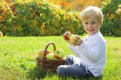 Ευτυχή φρούτα εκμετάλλευσης αγοριών στον οπωρώνα της Apple το φθινόπωρο Στοκ Φωτογραφία