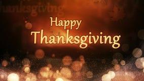 Ευτυχή φω'τα φθινοπώρου ημέρας των ευχαριστιών με τα μόρια διανυσματική απεικόνιση