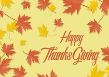 Ευτυχή φύλλα φθινοπώρου φύλλων σφενδάμου ημέρας των ευχαριστιών Απεικόνιση αποθεμάτων