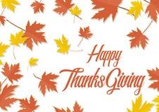 Ευτυχή φύλλα φθινοπώρου φύλλων σφενδάμου ημέρας των ευχαριστιών Ελεύθερη απεικόνιση δικαιώματος