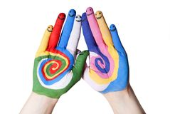 Ευτυχή χέρια Στοκ εικόνες με δικαίωμα ελεύθερης χρήσης